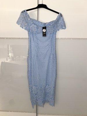 elegantes Spitzenkleid Schulterfrei babyblau Neu mit Etikett