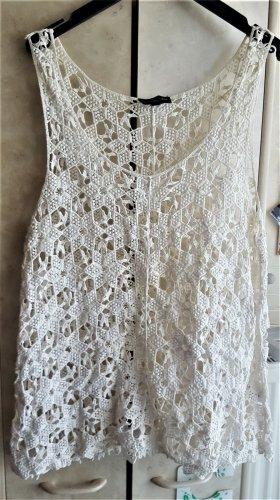 K by.....KappAhl Haut en crochet blanc cassé coton