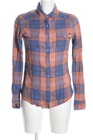 Element Blusa-camisa azul-naranja claro estampado a cuadros look casual