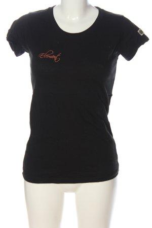 Element T-Shirt schwarz-hellorange Schriftzug gedruckt Casual-Look