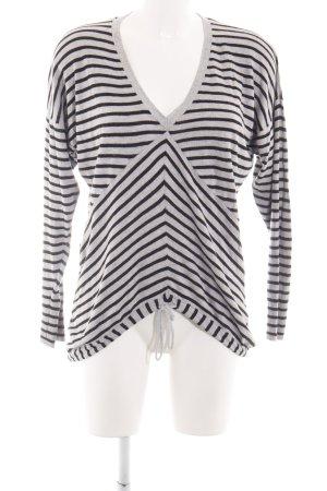 Element V-Ausschnitt-Shirt hellgrau-schwarz Streifenmuster Casual-Look