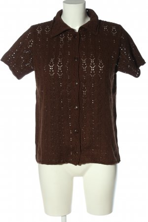 Elements Short Sleeve Sweater brown cable stitch casual look