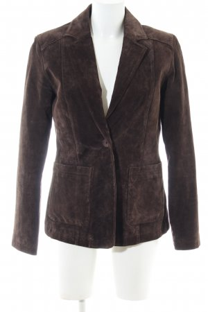 Elements Blazer in pelle marrone stile casual