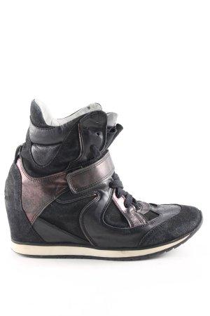 Elena Lachi Wedge Sneaker schwarz-bronzefarben Glanz-Optik
