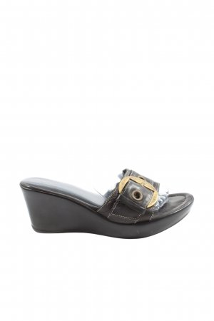 Elena Wedge Sandals black-gold-colored casual look