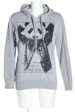 Eleven Paris Felpa con cappuccio grigio chiaro-nero Stampa a tema stile casual