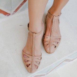 Ballerines à lacets beige-rose chair cuir