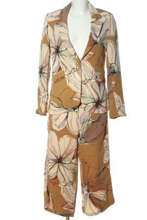 Elias Rumelis Tailleur-pantalon brun motif de fleur élégant