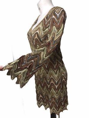Elif Damen Spitzen Kleid + Unterkleid Braun Gold M/L