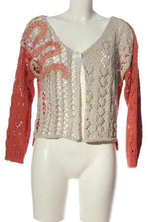 Elisa Cavaletti Crochet Cardigan natural white-pink cable stitch elegant