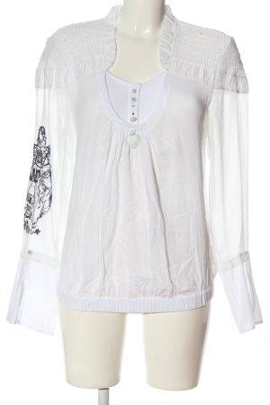 Elisa Cavaletti Langarm-Bluse weiß-schwarz Motivdruck Casual-Look