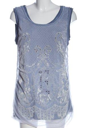 Elisa Cavaletti Top long bleu-blanc imprimé allover style décontracté