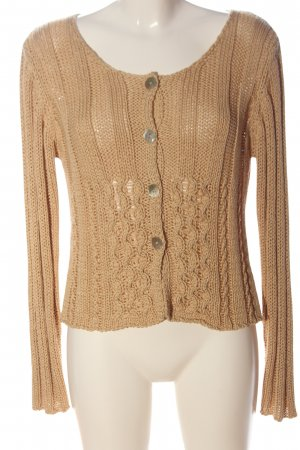 Elisa Cavaletti Knitted Cardigan nude cable stitch casual look