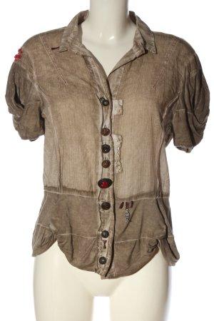 Elisa Cavaletti Short Sleeve Knitted Jacket brown-light grey elegant