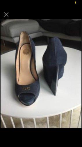 Elisabetta Franchi Wedge Pumps dark blue leather