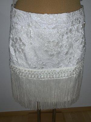 Elisabetta Franchi Falda con flecos blanco