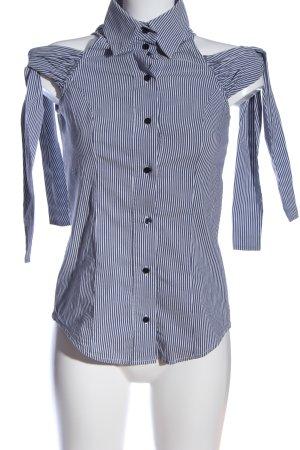 Elisabetta Franchi Hemd-Bluse blau-weiß Streifenmuster Casual-Look