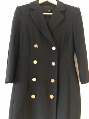 Elisabetta Franchi Gabardina tipo vestido negro-color oro