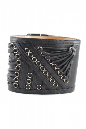 Elisabetta Franchi Leather Belt black-silver-colored casual look