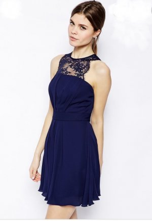 Elise Ryan Skater Dress with Scallop Lace Trim Navy Blue