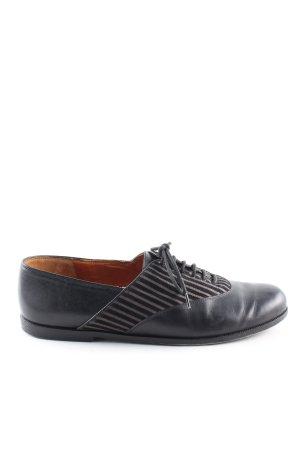 Elizabeth Chaussures à lacets noir motif rayé style d'affaires