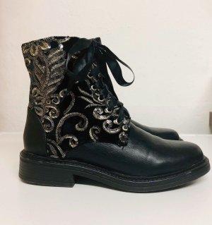 Ella Cruz, Boots, Stiefelette, schwarz, Pailletten, Stickerei, Gr. 38