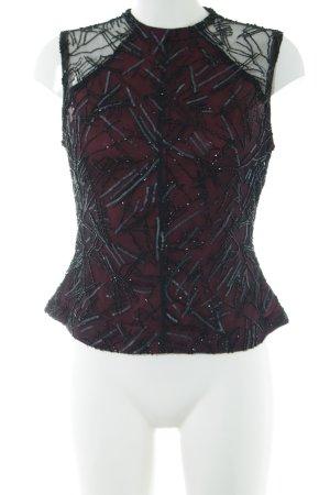 Ella Singh ärmellose Bluse schwarz-rot abstraktes Muster klassischer Stil