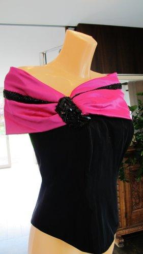 Haut type corsage noir-magenta