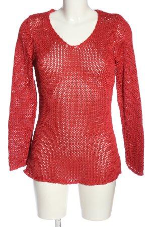 elle nor Gehaakt shirt rood Webpatroon casual uitstraling