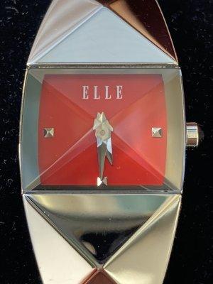 Elle Time Reloj con pulsera metálica rojo-color plata metal