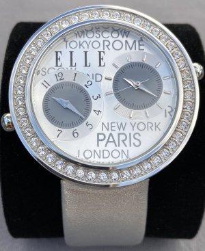 Elle Time Montre avec bracelet en cuir argenté cuir