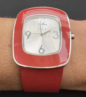 Montre avec bracelet en cuir argenté-rouge