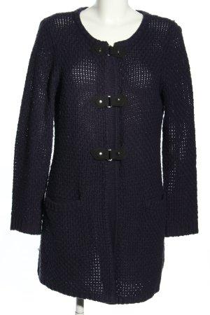 Ellen Tracy Grobstrickjacke schwarz Zopfmuster Casual-Look