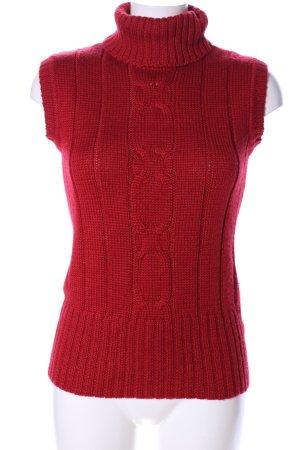 ElleNor Maglia a collo alto rosso punto treccia stile casual