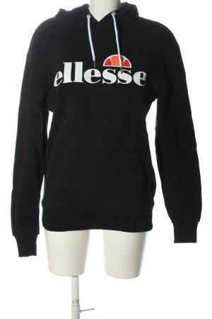 Ellesse Kapuzensweatshirt schwarz-weiß Schriftzug gedruckt sportlicher Stil