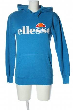 Ellesse Kapuzensweatshirt blau-weiß Schriftzug gedruckt Casual-Look