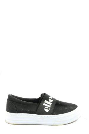 Ellesse Schlüpfsneaker schwarz-weiß Schriftzug gedruckt Casual-Look