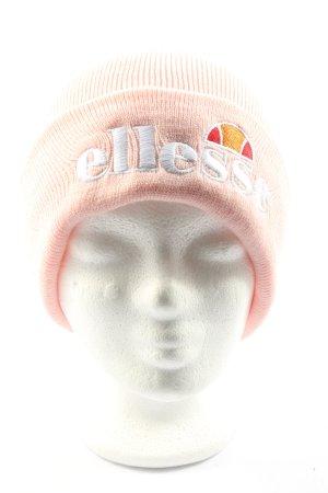 Ellesse Sombrero de punto rosa-blanco letras bordadas look casual
