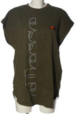 Ellesse T-Shirt khaki-weiß Schriftzug gestickt Casual-Look