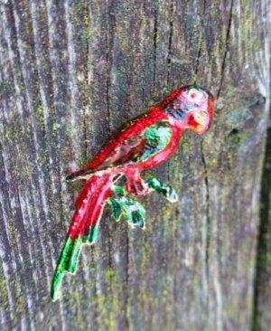 Bouton rouge-vert métal
