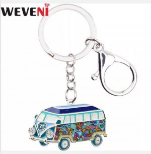 emaillierter Schlüssel-/Taschenanhänger VW Bus Metall NEU