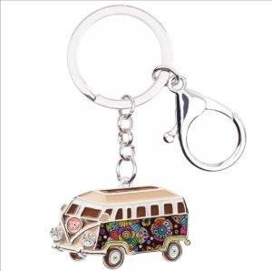 Emaillierter Schlüssel -/Taschenanhänger VW - Hippie Bus beige bunt NEU!