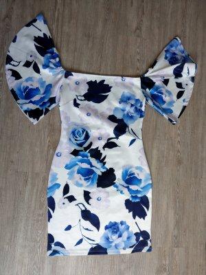 Emamoda Kleid Cocktailkleid S/M Venedig weiß Blumen blau Off Shoulder