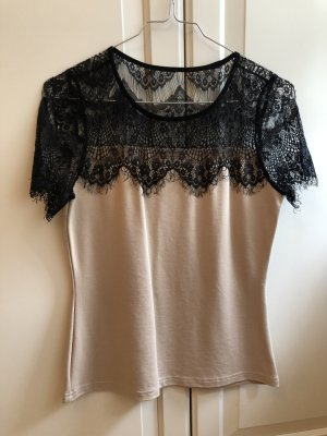 Emamoda Top di merletto nero-crema Lycra