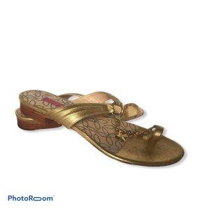 Emanuel Ungaro Flip-Flop Sandals gold orange leather