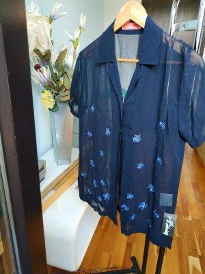 Ungaro Blusa trasparente blu scuro-blu neon Acetato