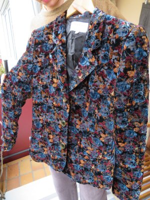 EMANUEL UNGARO PARIS Samt Blazer - Gr. S 36 - Seiden Samt Desiger Jacke - Floral
