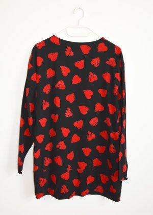 Emanuel Ungaro Vintage Minikleid Longbluse Kleid Herz Motiv schwarz Rot IT 44