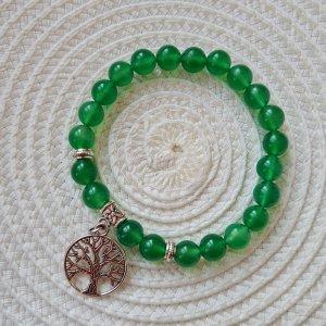 Mala Bracciale di perle argento-verde bosco