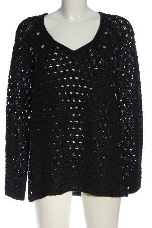 Emilia Lay Szydełkowany sweter czarny Siateczkowy wzór Elegancki